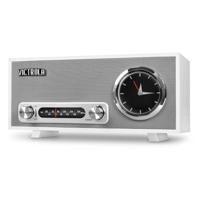 Victrola Bluetooth Analog Clock Stereo with FM Radio and USB Charging, White (Certified Refurbished)