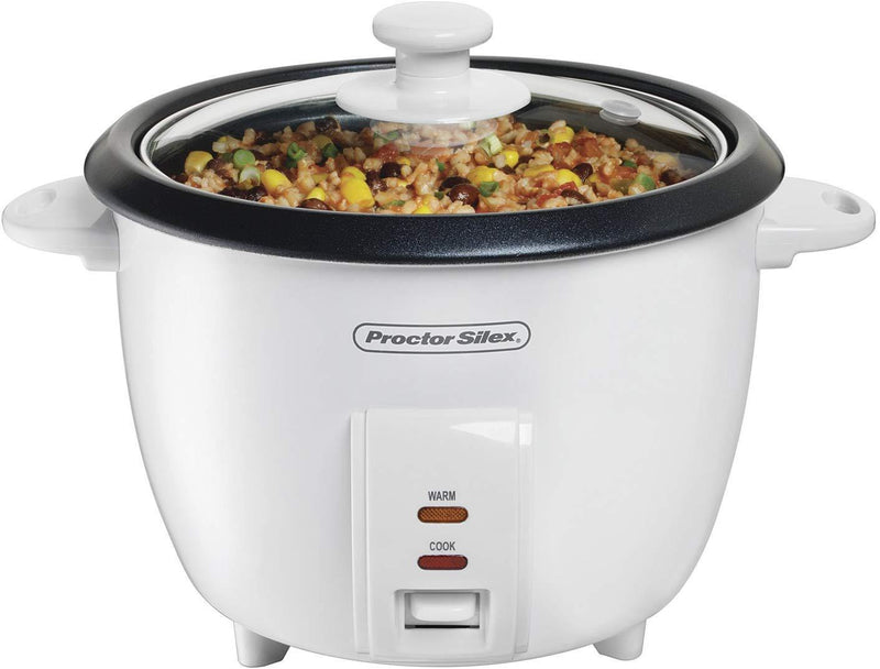 Proctor Silex Rice Cooker & Food Steamer, 10 Cups Cooked (5 Uncooked), White (37533NR)