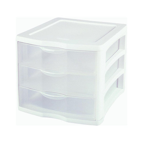 Sterilite 17918004 3-Drawer Clearview Organizer with White Frame - 4 Pack