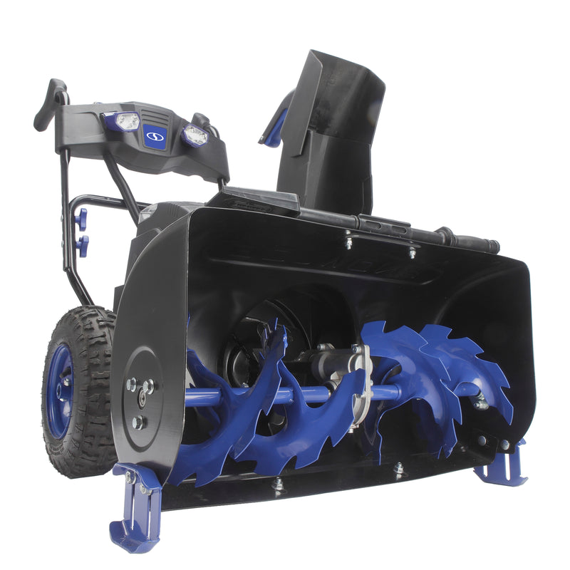 Snow Joe ION8024-XR Cordless Two Stage Snow Blower | 24-Inch | 80 Volt | 2 x 5 Ah Batteries | 4-Speed | Headlights
