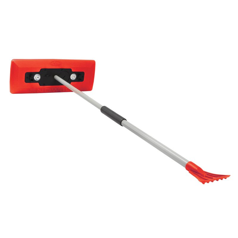 Snow Joe SJBLZD-LED-RED 4-In-1 Telescoping Snow Broom + Ice Scraper | 18-Inch Foam Head | Headlights (Red)