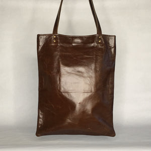 HACKER Leather Tote | Laptop Bag with Raw Edge Pocket Detail