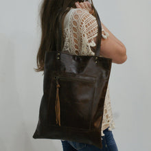 Load image into Gallery viewer, HACKER Leather Tote | Laptop Bag with Raw Edge Pocket Detail