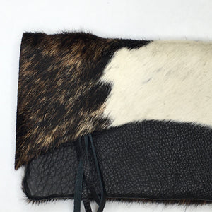 COWHIDE RAW EDGE CROSSBODY BAG | Tri-color Cowhide / Black Pebble Leather | One-of-a-Kind