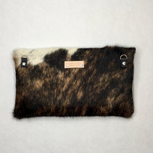Load image into Gallery viewer, COWHIDE RAW EDGE CROSSBODY BAG | Tri-color Cowhide / Black Pebble Leather | One-of-a-Kind