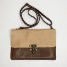 Load image into Gallery viewer, Handcrafted leather crossbody bag/ fanny pack with steampunk clasp