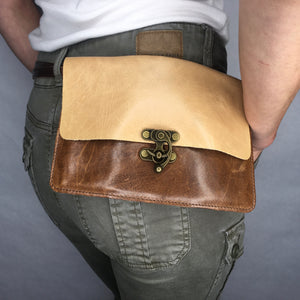 Handcrafted leather fanny pack with steampunk clasp