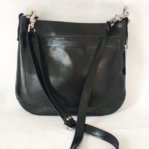 UKSANA Small Leather Crossbody Bag | Black Leather
