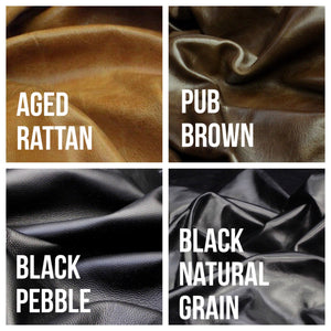 Photo of leather color options for Marge & Rudy Trekker Bag. Choose aged rattan, pub brown, black pebble and black natural grain.