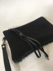 Cowhide Leather Wristlet | Black Hair on Hide