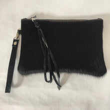 Load image into Gallery viewer, Cowhide Leather Wristlet | Black Hair on Hide