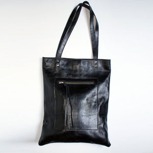 Marge Rudy HACKER Leather Bag Black Natural Grain