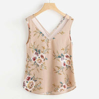 Feitong Women's Casual Floral Print V-Neck Sleeveless Blouse