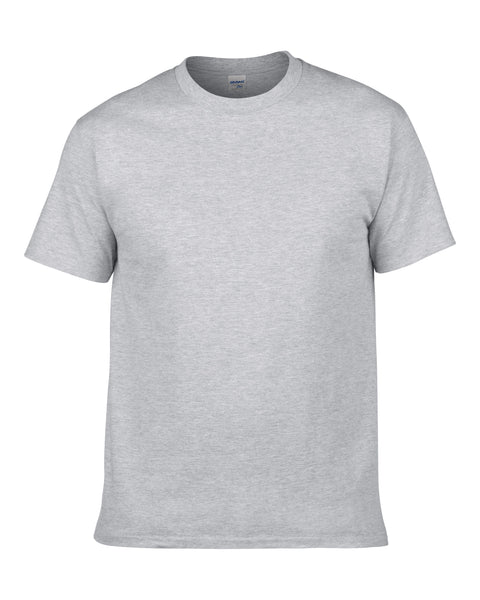 Men's Solid Color Round Neck Short Sleeve Cotton T-Shirt (Gray)