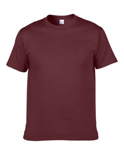 Men's Solid Color Round Neck Short Sleeve Cotton T-Shirt (Maroon)