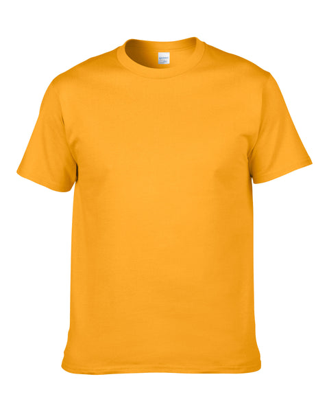 Men's Solid Color Round Neck Short Sleeve Cotton T-Shirt (Gold)