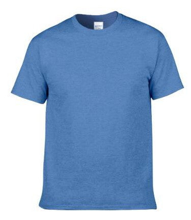 Men's Solid Color Round Neck Short Sleeve Cotton T-Shirt (Grayish-Blue)