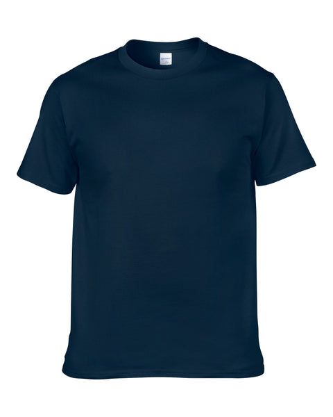 Men's Solid Color Round Neck Short Sleeve Cotton T-Shirt (Navy Blue)