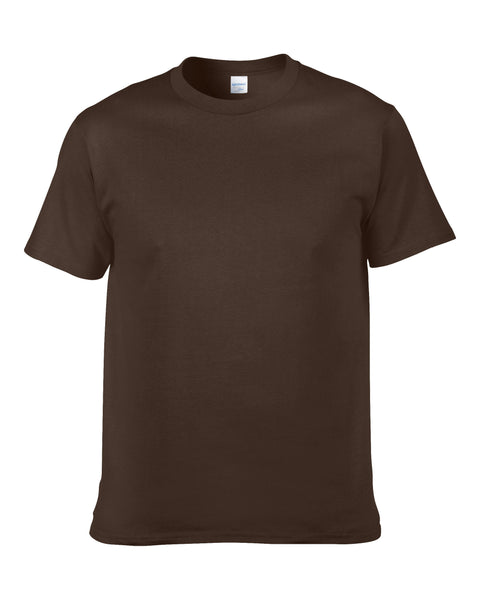 Men's Solid Color Round Neck Short Sleeve Cotton T-Shirt (Dark Chocolate)