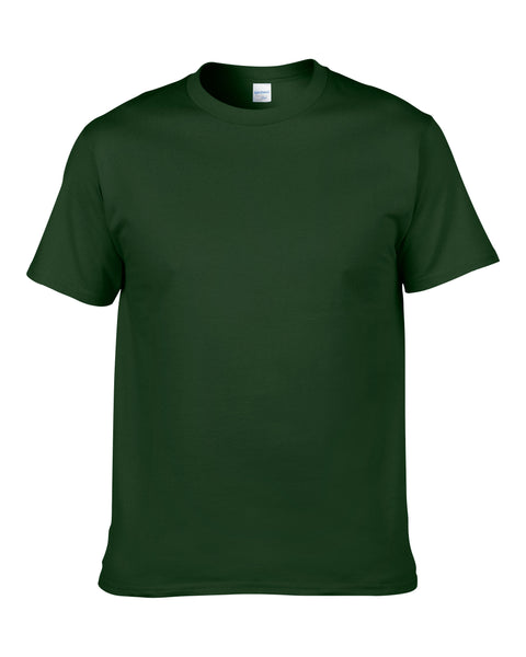 Men's Solid Color Round Neck Short Sleeve Cotton T-Shirt (Forest Green)