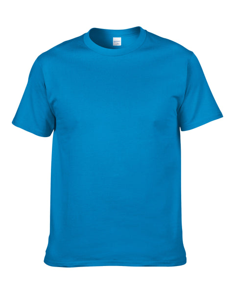 Men's Solid Color Round Neck Short Sleeve Cotton T-Shirt (Gem Blue)