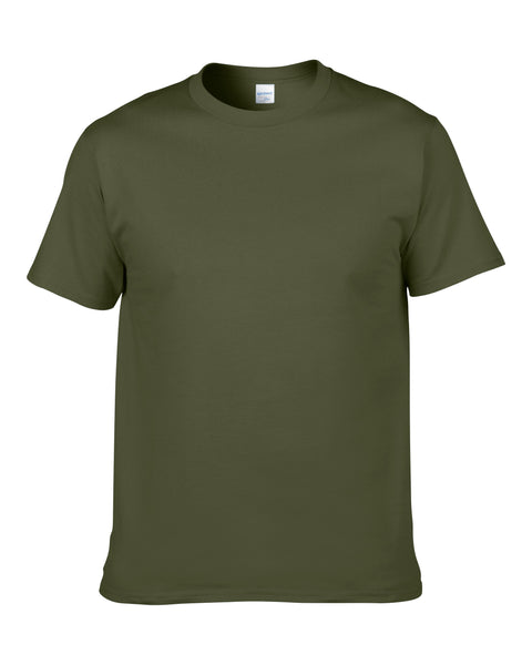 Men's Solid Color Round Neck Short Sleeve Cotton T-Shirt (Army Green)
