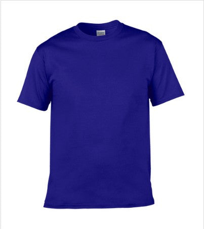 Men's Solid Color Round Neck Short Sleeve Cotton T-Shirt (Sapphire)