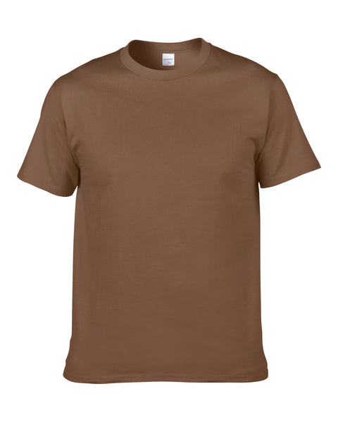 Men's Solid Color Round Neck Short Sleeve Cotton T-Shirt (Chestnut)