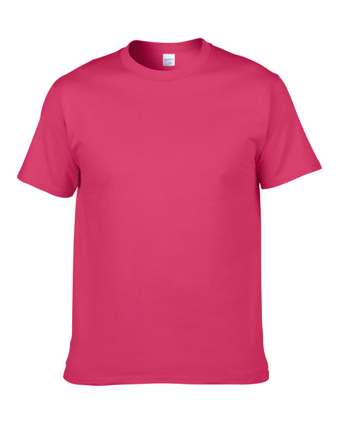 Men's Solid Color Round Neck Short Sleeve Cotton T-Shirt (Rose Red)