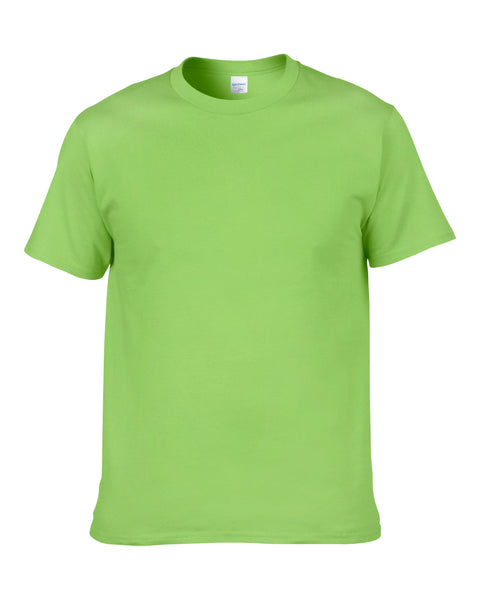 Men's Solid Color Round Neck Short Sleeve Cotton T-Shirt (Light Green)