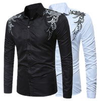 Podom Slim Fit Long Sleeve Print Casual Men's Dress Shirt (2018)