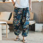 Incerun Ethnic Retro Wide Leg Linen Men's Harem Pants