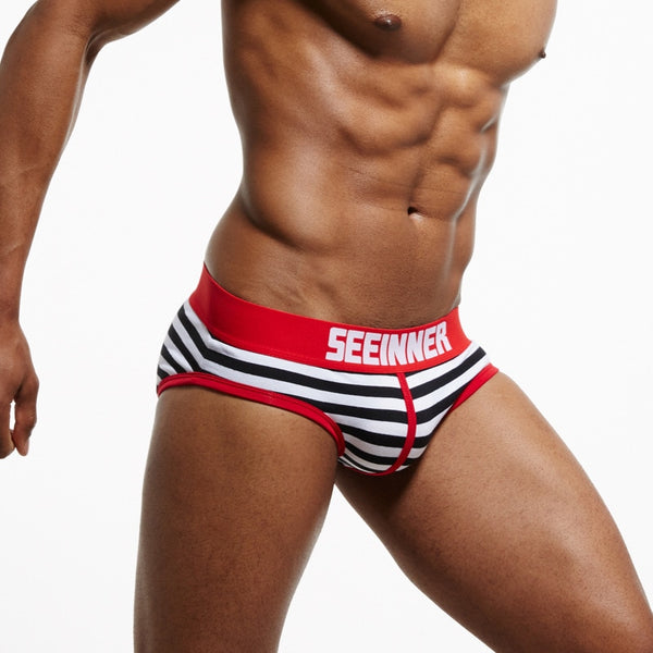 SEEINNER Men's Cotton Striped/Printed Briefs