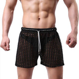 Podom Causal Quick Dry See-Through Fishnet Men's Swimming Trunks