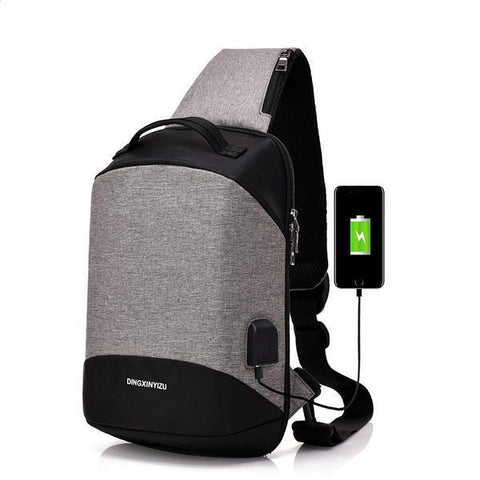 New Men USB Design High Capacity Chest bags Casual Travel Shoulder Bags - passportcovermarket