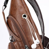 Leather Men's USB Chest Bag - passportcovermarket