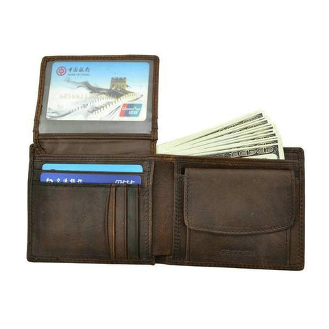Leather Men Wallets with Coin Pocket - passportcovermarket