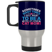Stay At Home Cat Mom Pink Travel Mug