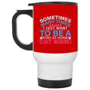 Stay At Home Cat Mom Pink White Travel Mug
