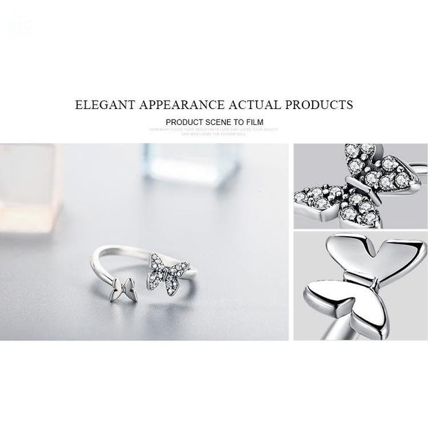 Sterling Silver Butterfly Open Finger Ring | Ten Big Ones