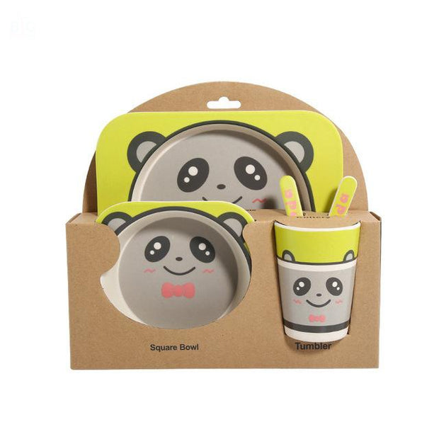 Bamboo Fiber Toddler Dinner Set 5 Pcs Panda | Ten Big Ones