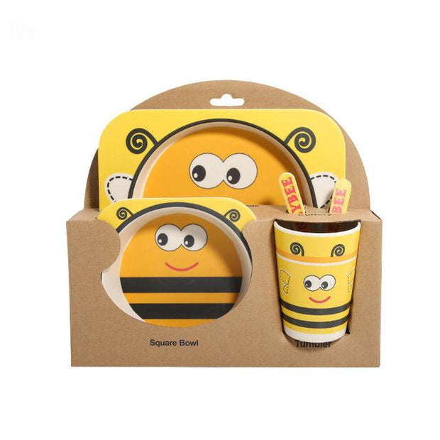 Bamboo Fiber Toddler Dinner Set 5 Pcs Bee | Ten Big Ones