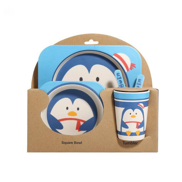 Bamboo Fiber Toddler Dinner Set 5 Pcs Penguin | Ten Big Ones