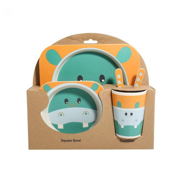 Bamboo Fiber Toddler Dinner Set 5 Pcs Hippo | Ten Big Ones