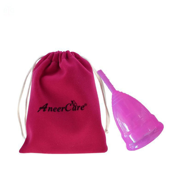 AneerCare Silicone Menstrual Cup pink cup with bag | Ten Big Ones