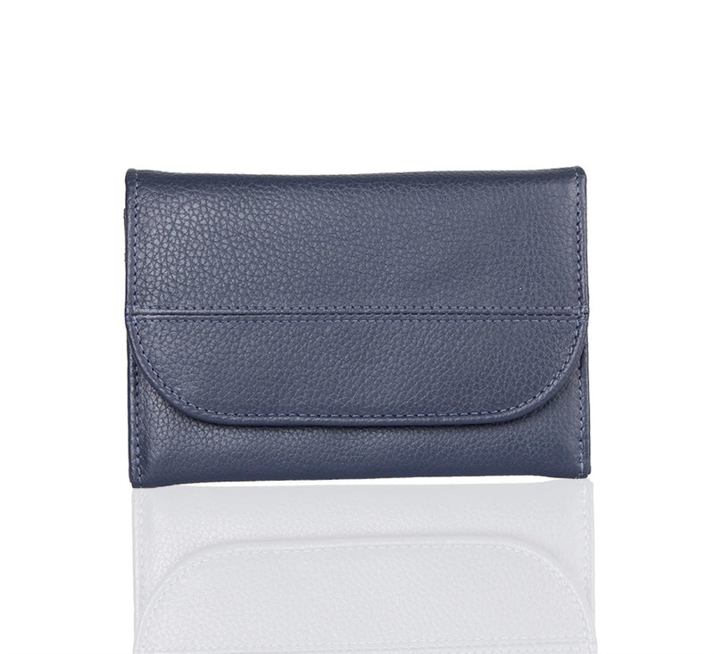 Lil Flap Printed Navy Leather Wallet