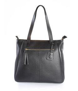Butter Leather Black Tasseled Tote