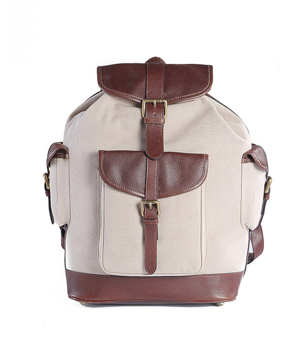 The Chronicle Leather Backpack Canvas - TLB - The Leather Boutique