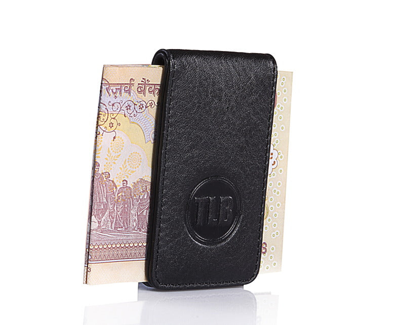 Leather Money Clip Black