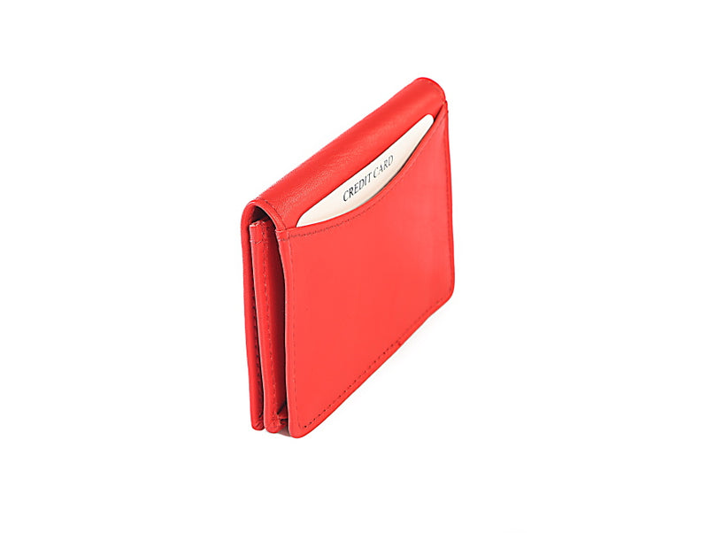 Red Leather Card Holder Wallet